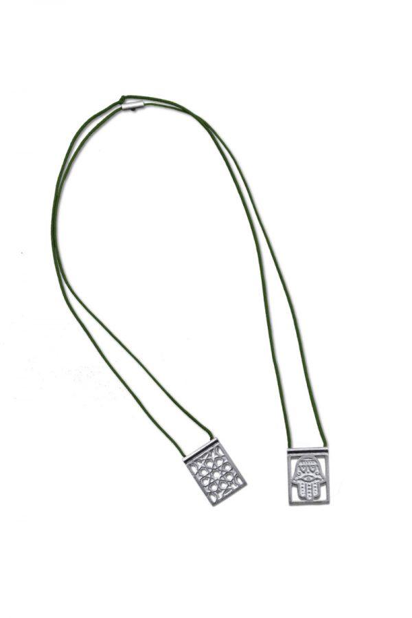 ballestrin-scapular-hamsa-silver-cord-darkgreen