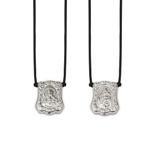 Baroque Escapulario in 925 Sterling Silver, with black Cord