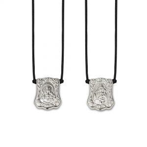 Baroque Protection Escapulario in 925 Sterling Silver, with black Cord