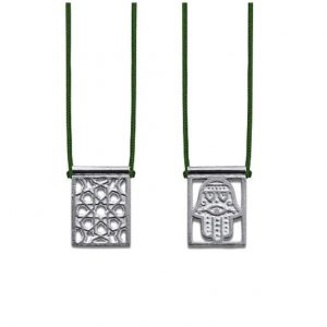 Hamsa Escapulario in 925 Sterling Silver, with dark green Cord