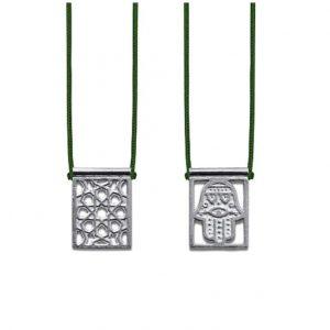 Hamsa Protection Escapulario in 925 Sterling Silver, with dark green Cord