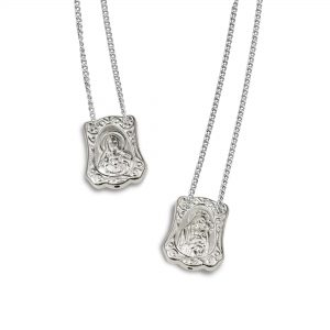 Baroque Escapulario in 925 Sterling Silver, with Chain
