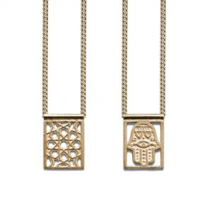 Hamsa Protection Escapulario Gold-plated, with Chain