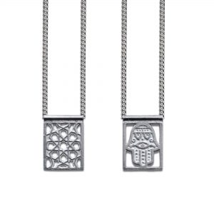 Hamsa Escapulario in 925 Sterling Silver, with Chain