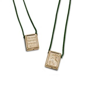St George Escapulario Gold Plated, with dark green Cord