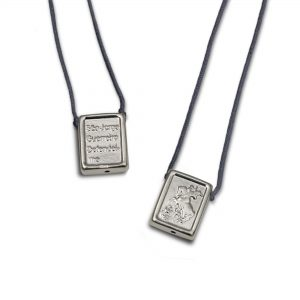 St George Protection Escapulario in 925 Sterling Silver, with charcoal Cord