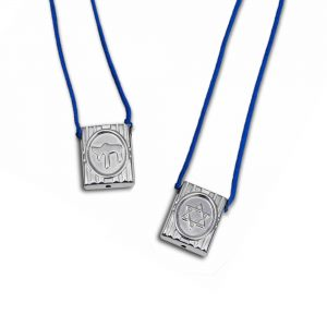 Star of David Escapulario in 925 Sterling Silver, with blue Cord