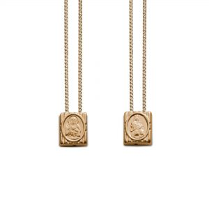 Small Traditional Protection Escapulario Gold-Plated, with Chain