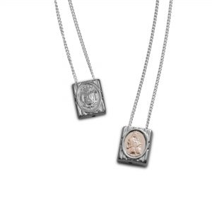 Traditional Small Escapulario in 925 Sterling Silver with 10k Gold detail, with Chain