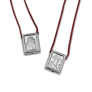 Traditional Escapulario in 925 Sterling Silver, with dark red Cord
