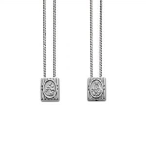 Small Traditional Protection Escapulario in 925 Sterling Silver, with Chain